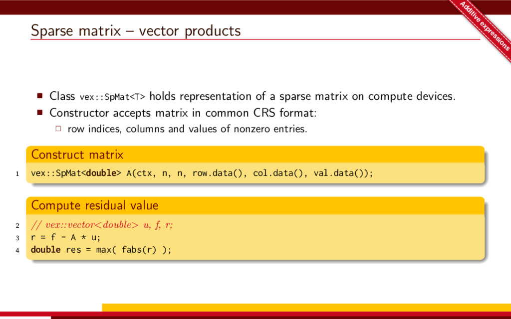 Sparse matrix – vector products A dditive expre...