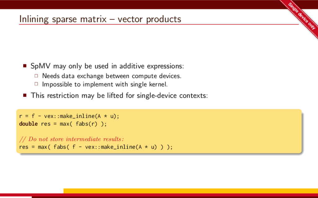 Inlining sparse matrix – vector products Single...