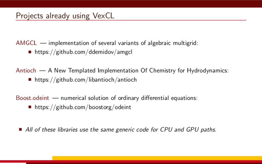 Projects already using VexCL AMGCL — implementa...