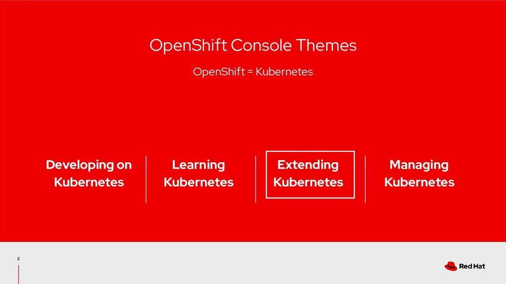 2 OpenShift Console Themes OpenShift = Kubernet...