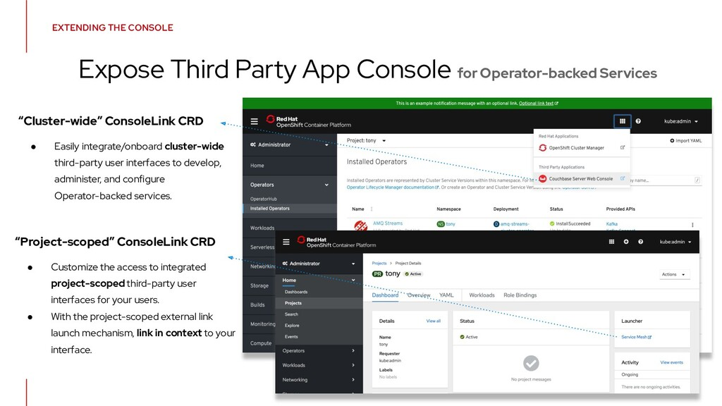 EXTENDING THE CONSOLE Expose Third Party App Co...
