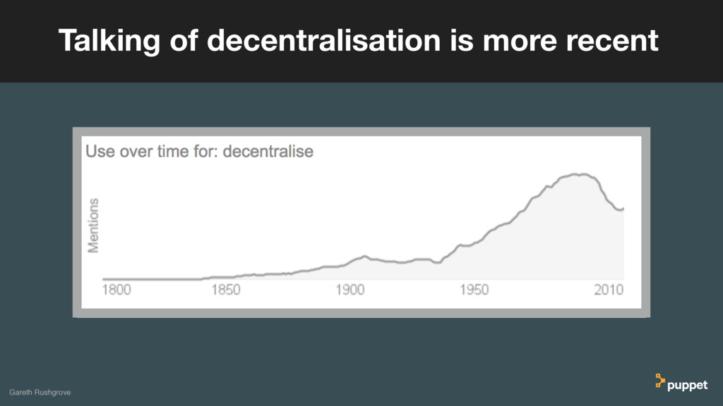Gareth Rushgrove Talking of decentralisation is...