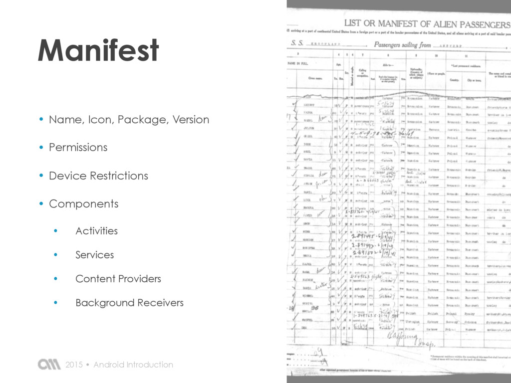 Android Introduction 2015 • Manifest • Name, Ic...