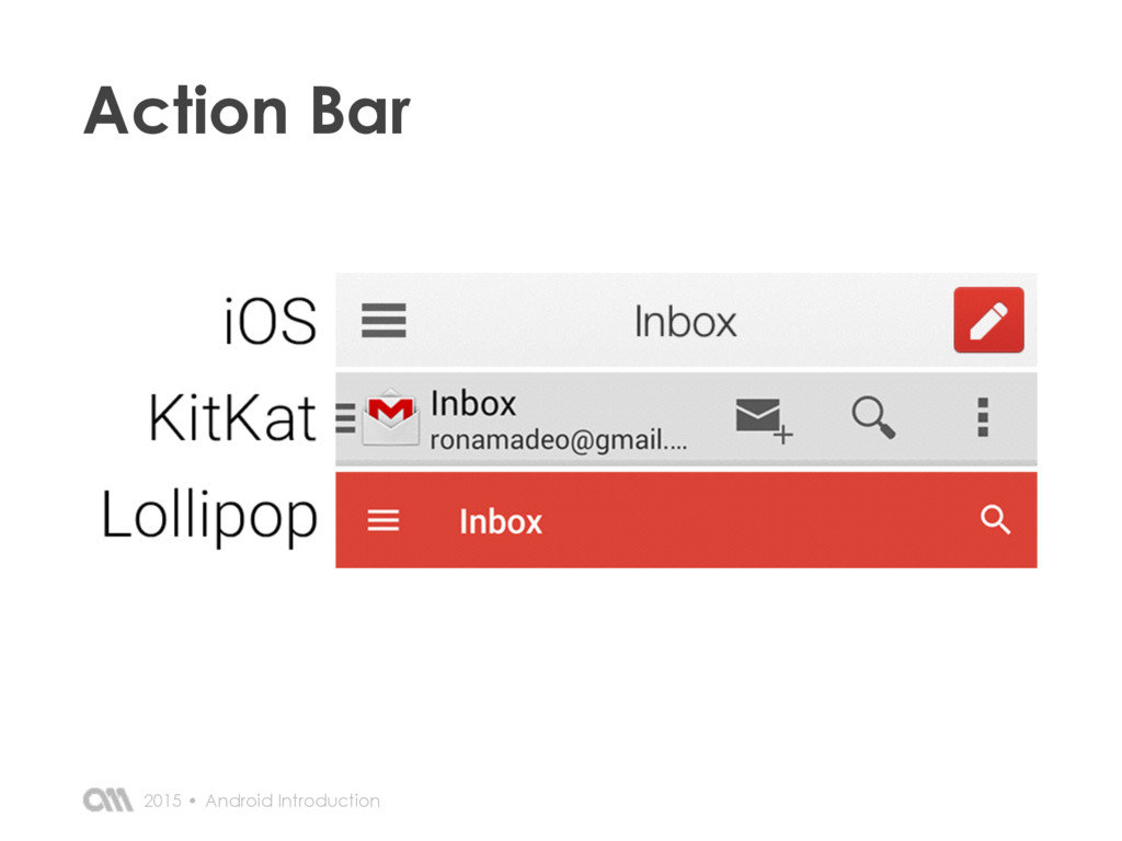 Android Introduction 2015 • Action Bar