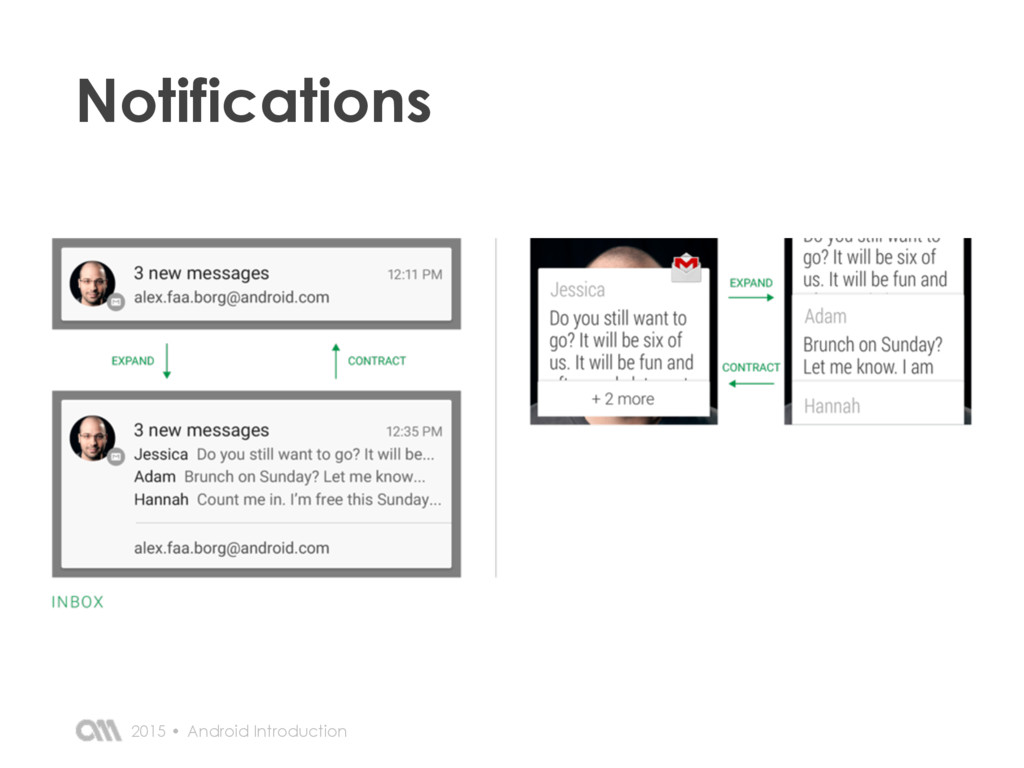 Android Introduction 2015 • Notifications