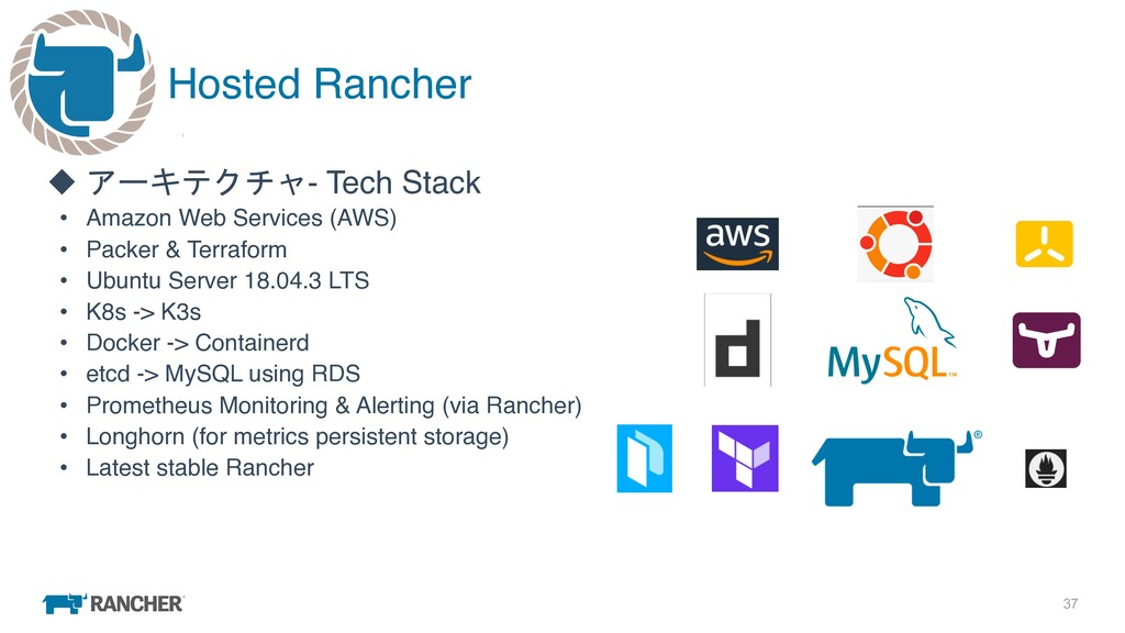 37 Hosted Rancher u アーキテクチャ- Tech Stack • Amazo...
