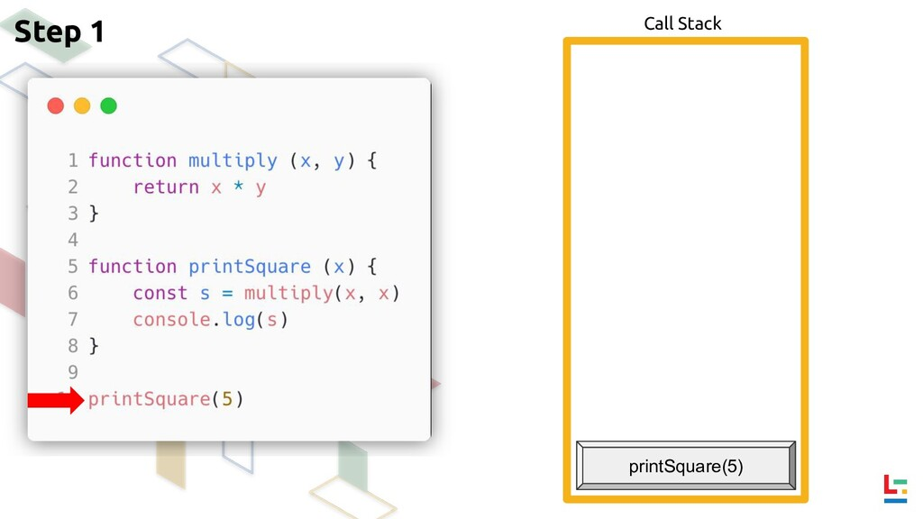 Call Stack Step 1 printSquare(5)