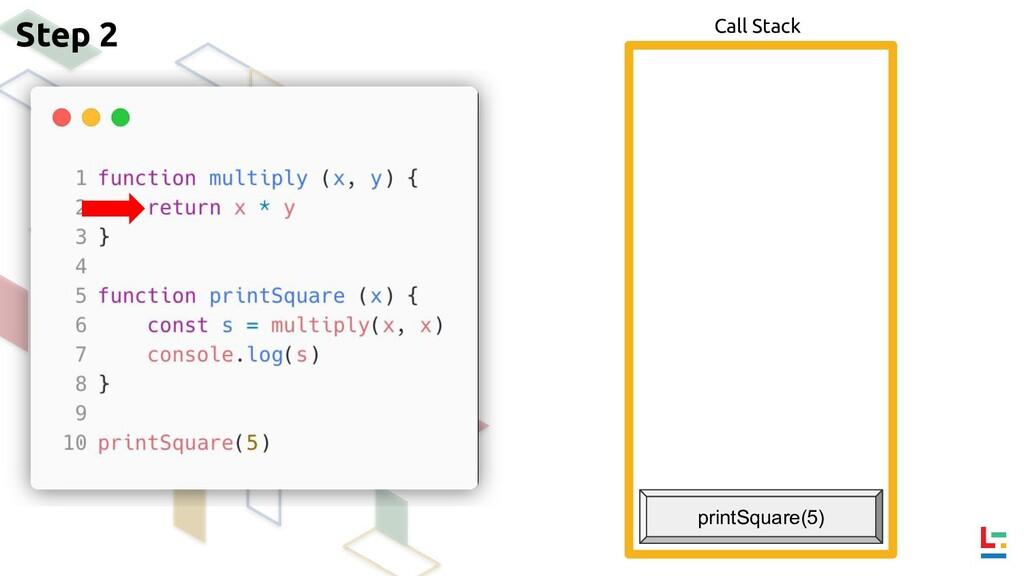 Call Stack Step 2 printSquare(5)