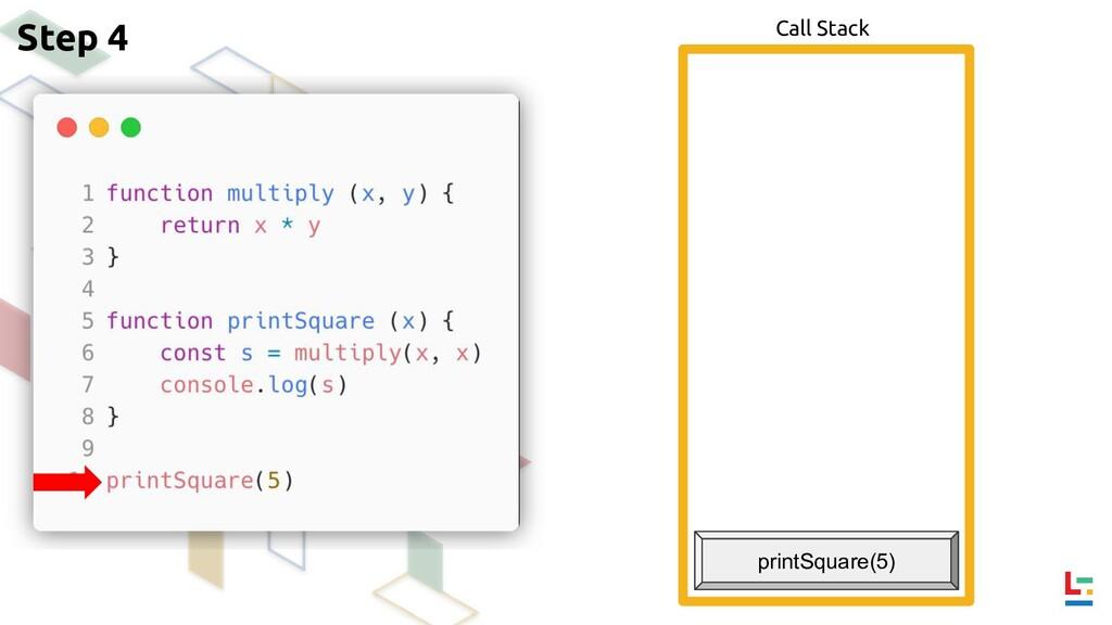 Call Stack Step 4 printSquare(5)