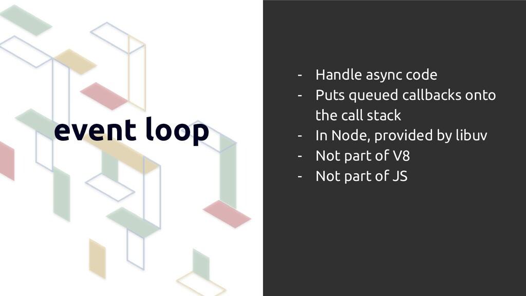 event loop - Handle async code - Puts queued ca...