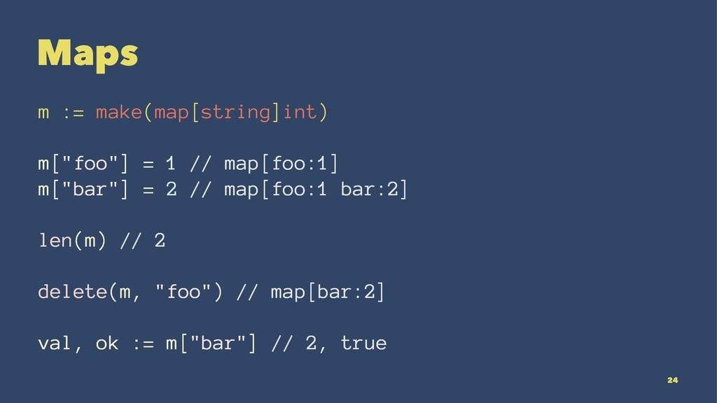 "Maps m := make(map[string]int) m[""foo""] = 1 // ..."