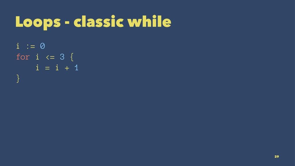 Loops - classic while i := 0 for i <= 3 { i = i...