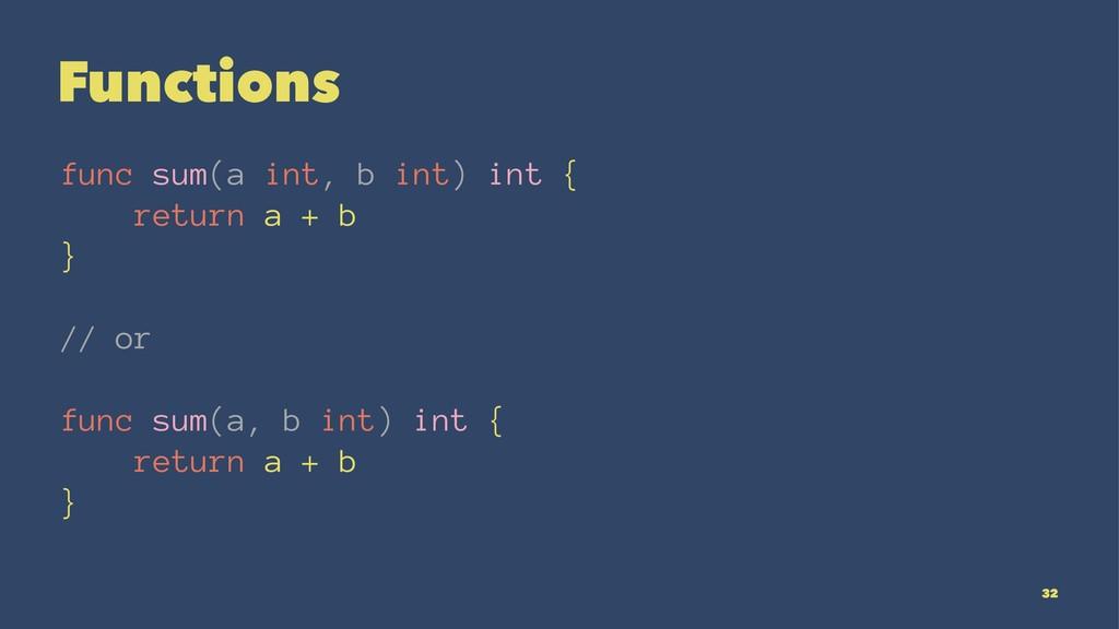 Functions func sum(a int, b int) int { return a...