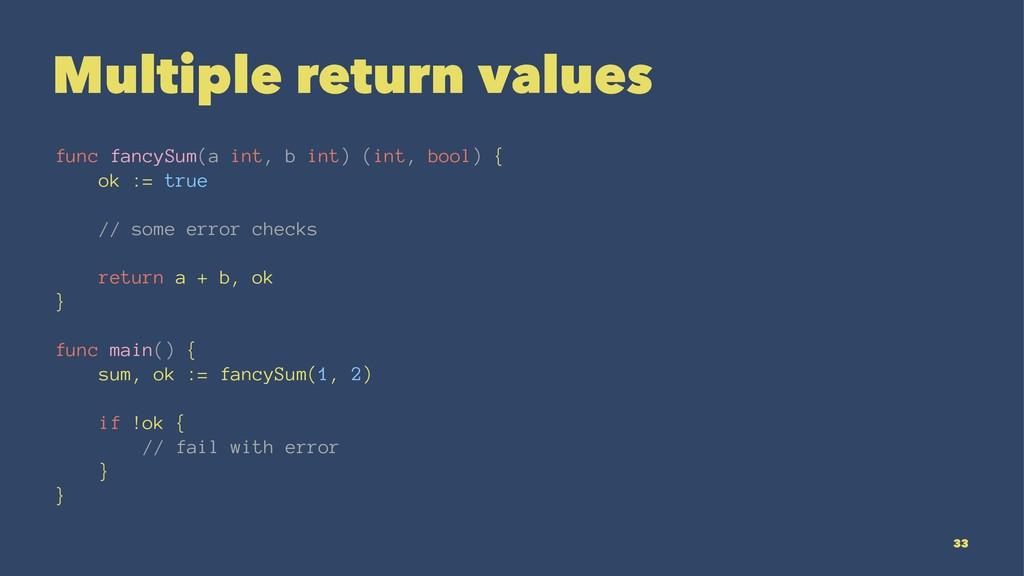 Multiple return values func fancySum(a int, b i...