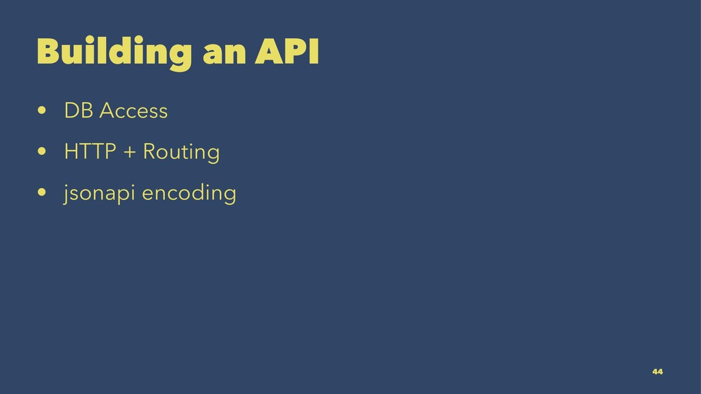 Building an API • DB Access • HTTP + Routing • ...