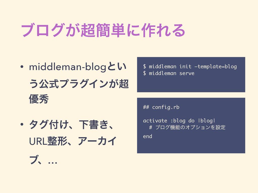 ϒϩά͕؆୯ʹ࡞ΕΔ • middleman-blogͱ͍ ͏ެࣜϓϥάΠϯ͕ ༏ल • ...
