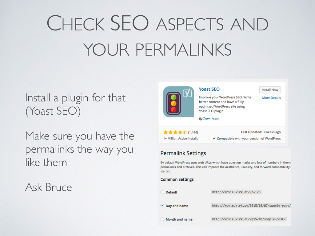 CHECK SEO ASPECTS AND YOUR PERMALINKS Install ...