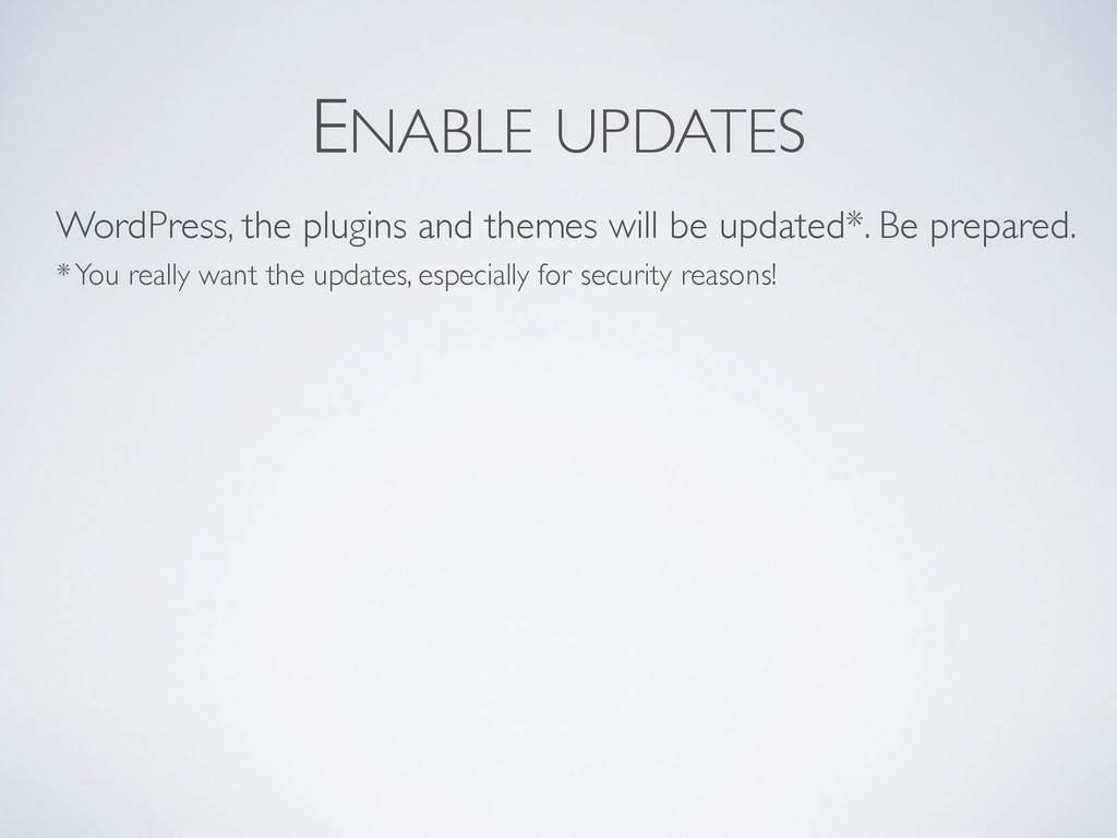 ENABLE UPDATES WordPress, the plugins and theme...