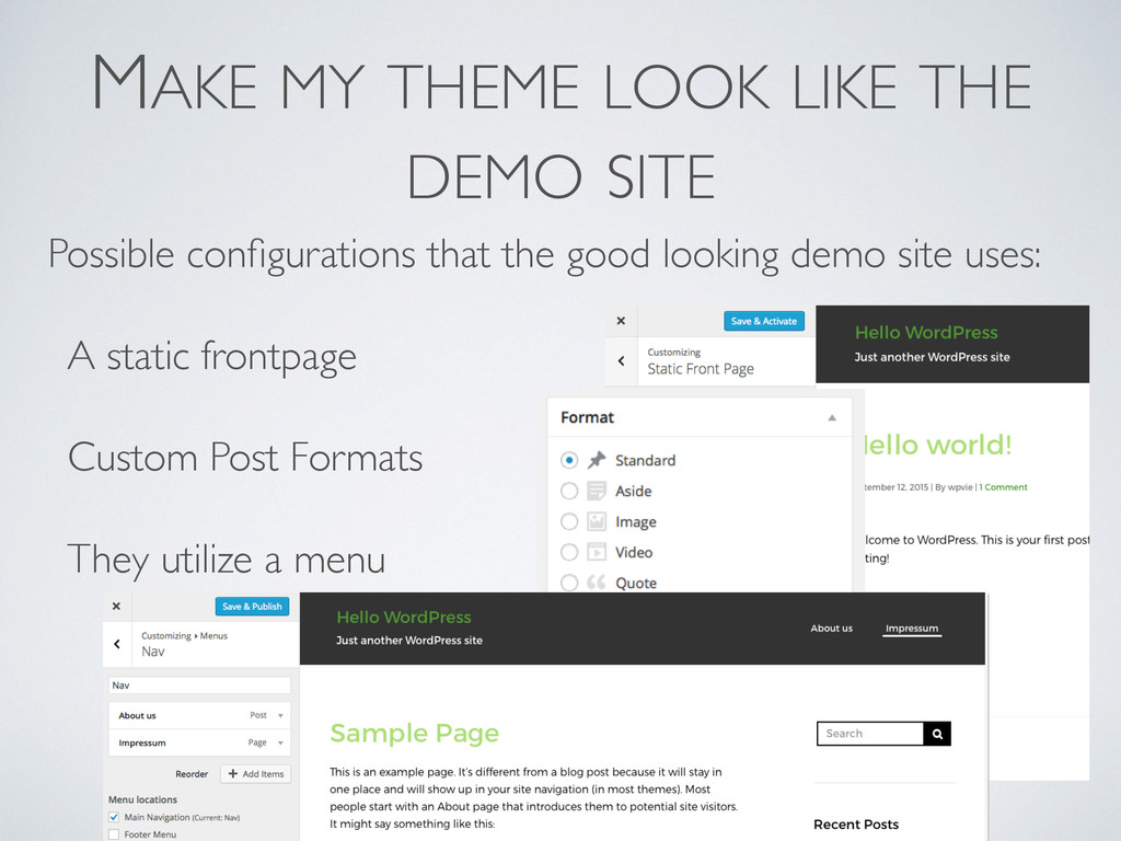 MAKE MY THEME LOOK LIKE THE DEMO SITE Possible ...