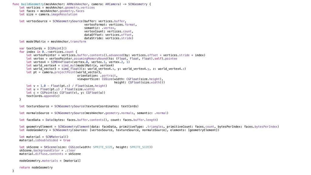 func buildGeometry(meshAnchor: ARMeshAnchor, ca...