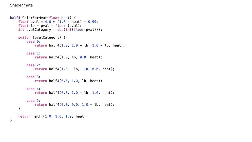 half4 ColorForHeat(float heat) {   float pval =...