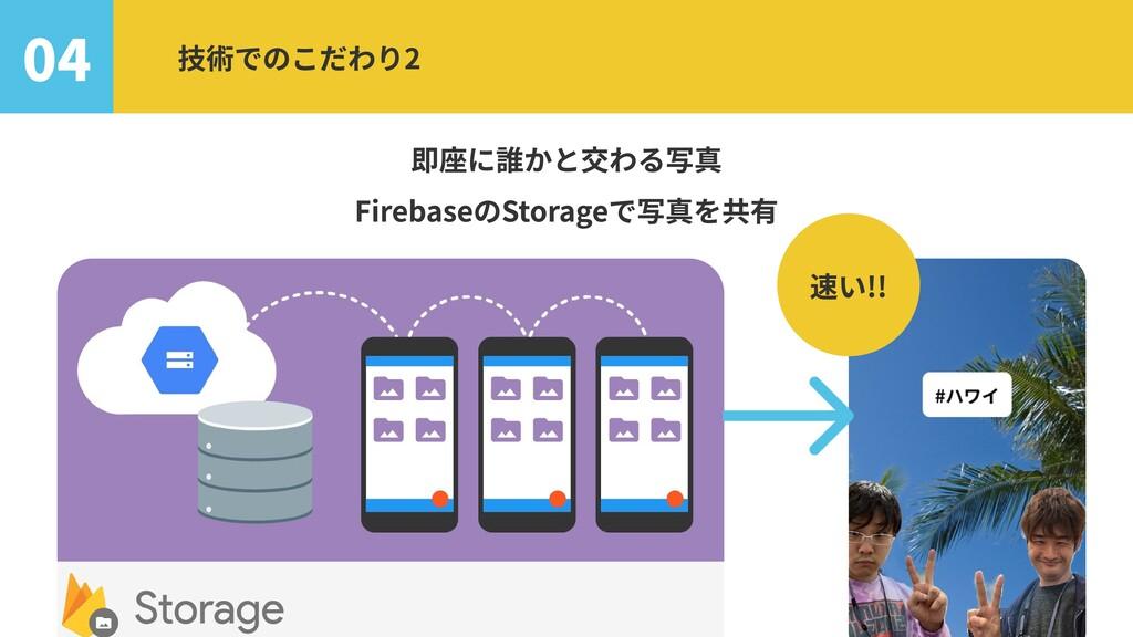 即座に誰かと交わる写真  FirebaseのStorageで写真を共有 即座に 04 技術での...