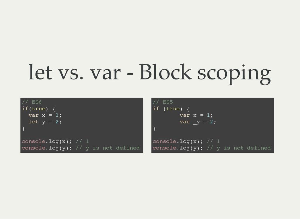 let vs. var - Block scoping / / E S 6 i f ( t r...