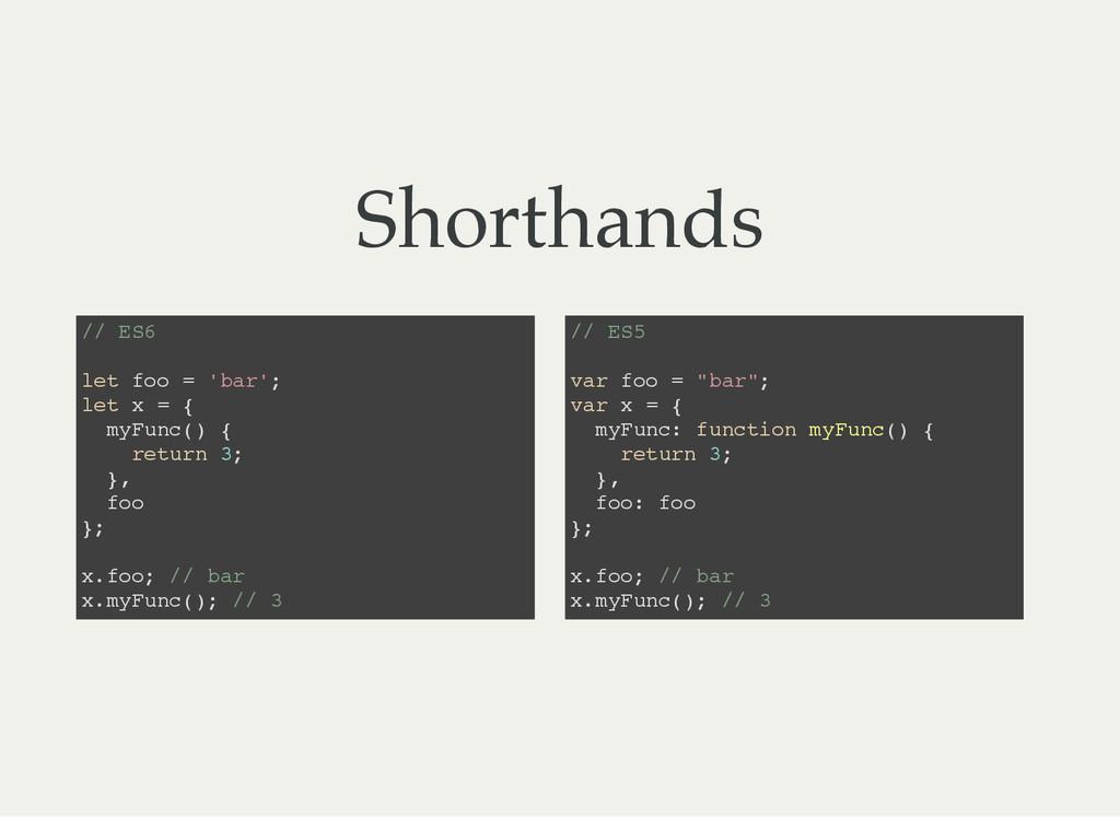 Shorthands / / E S 6 l e t f o o = ' b a r ' ; ...