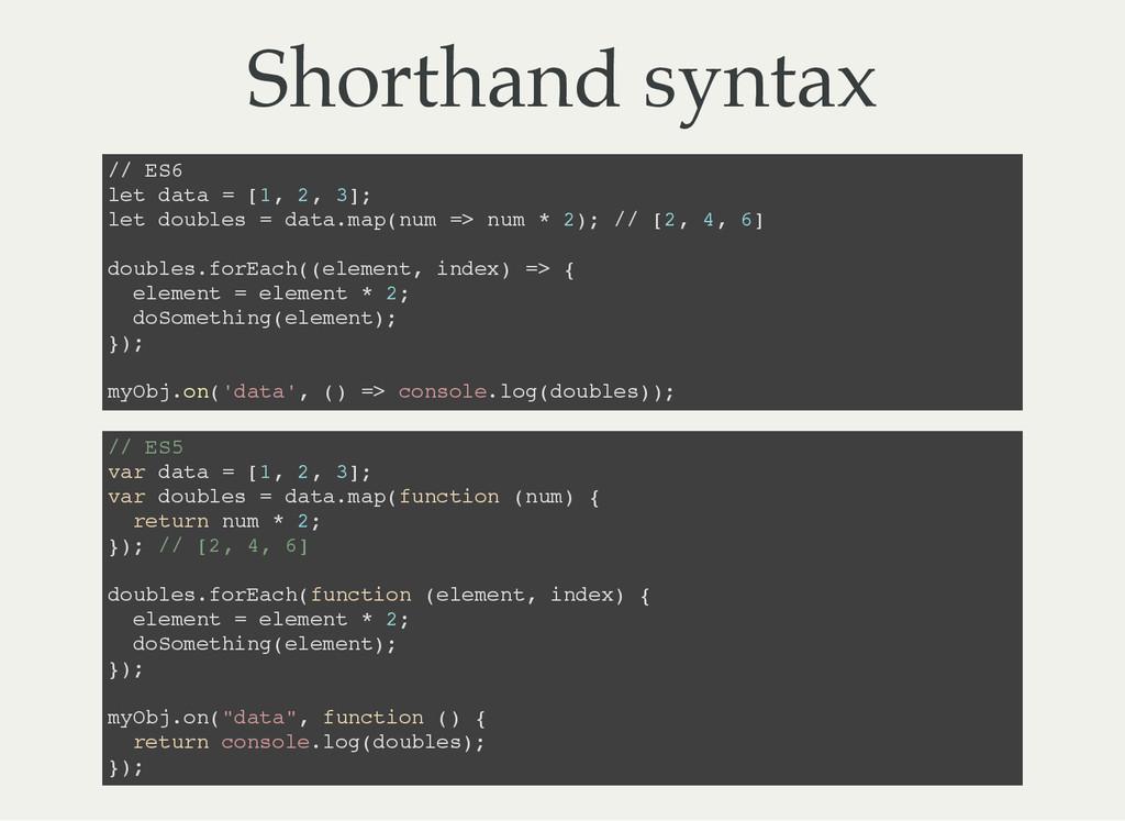 Shorthand syntax / / E S 6 l e t d a t a = [ 1 ...