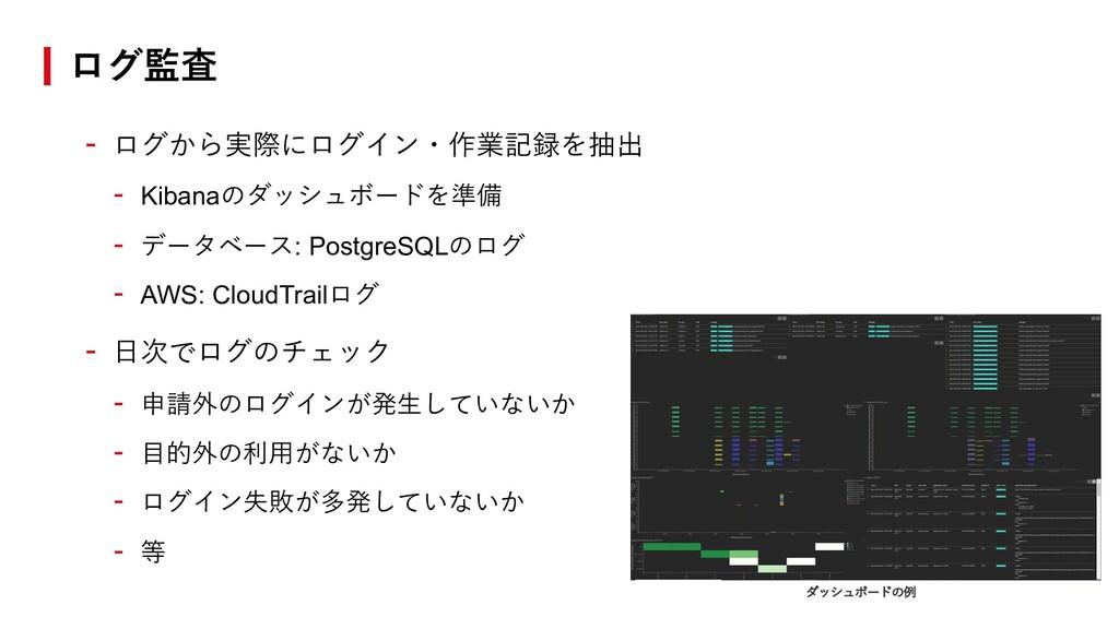 - ログから実際にログイン・作業記録を抽出 - Kibanaのダッシュボードを準備 - データ...