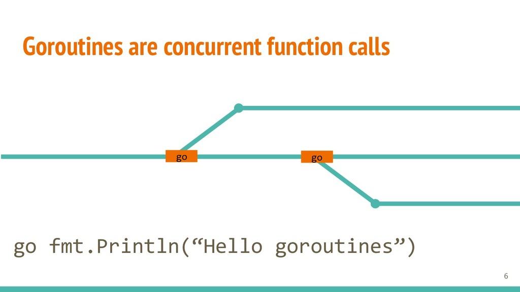 Goroutines are concurrent function calls go go ...