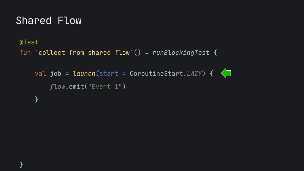 Shared Flow @Test  fun `collect from shared flo...