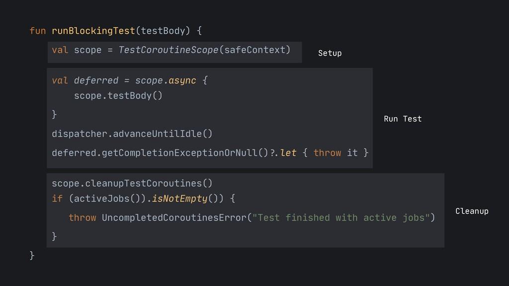 fun runBlockingTest(testBody) {  val scope = Te...