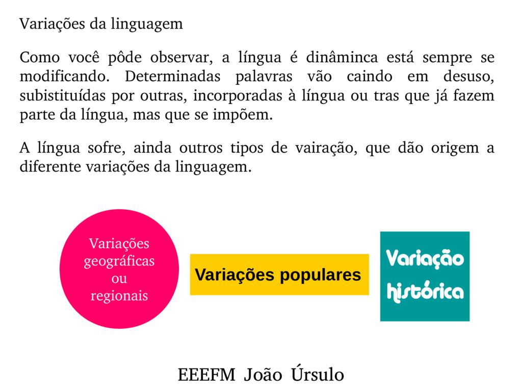 EEEFM João Úrsulo Variações da linguagem Como v...
