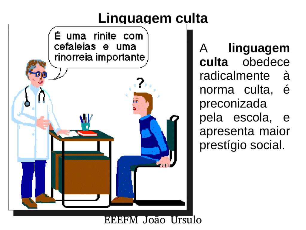 EEEFM João Úrsulo Linguagem culta A linguagem c...