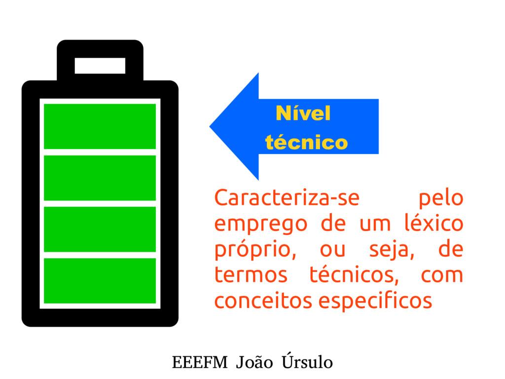 EEEFM João Úrsulo Nível técnico Caracteriza-se ...