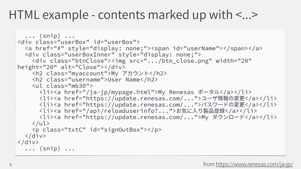 HTML example - contents marked up with <...> .....
