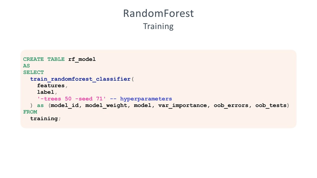 RandomForest Training CREATE TABLE rf_model AS ...