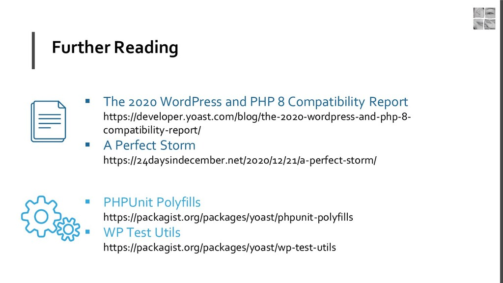 Further Reading ▪ The 2020 WordPress and PHP 8 ...