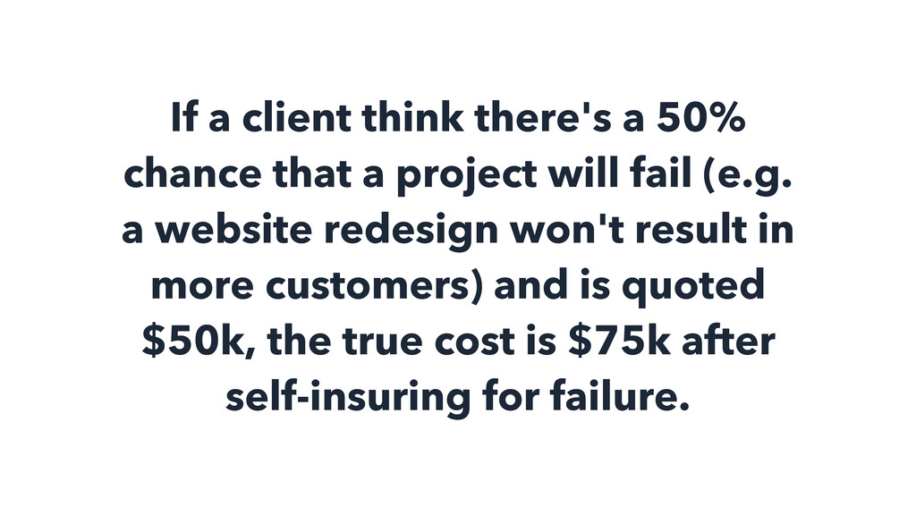 If a client think there's a 50% chance that a p...