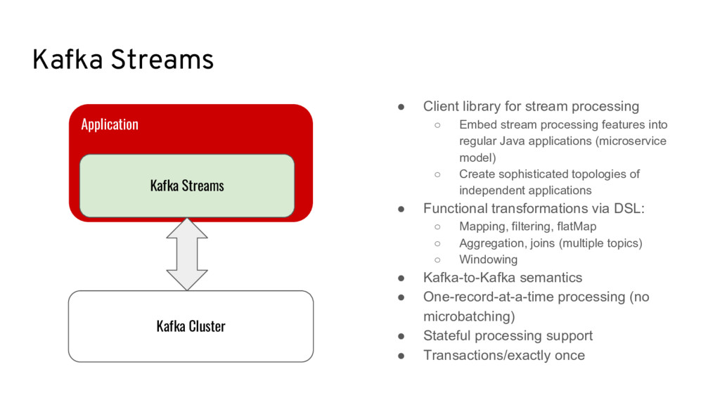 Kafka Streams ● Client library for stream proce...