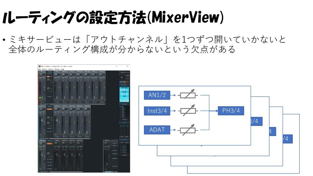 ルーティングの設定方法(MixerView) • ミキサービューは「アウトチャンネル」を1つず...