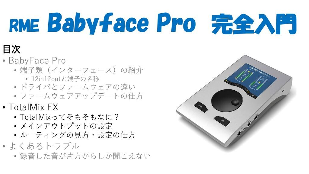 RME Babyface Pro 完全入門 目次 • BabyFace Pro • 端子類(イ...