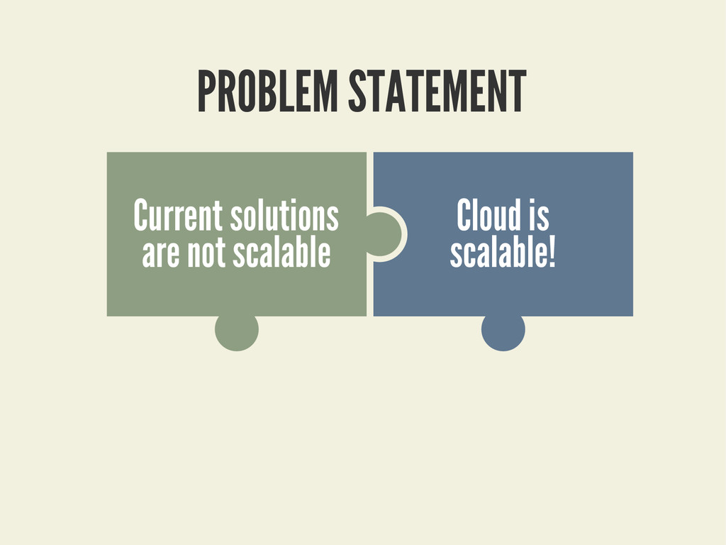 PROBLEM STATEMENT Cloud is scalable! Current so...
