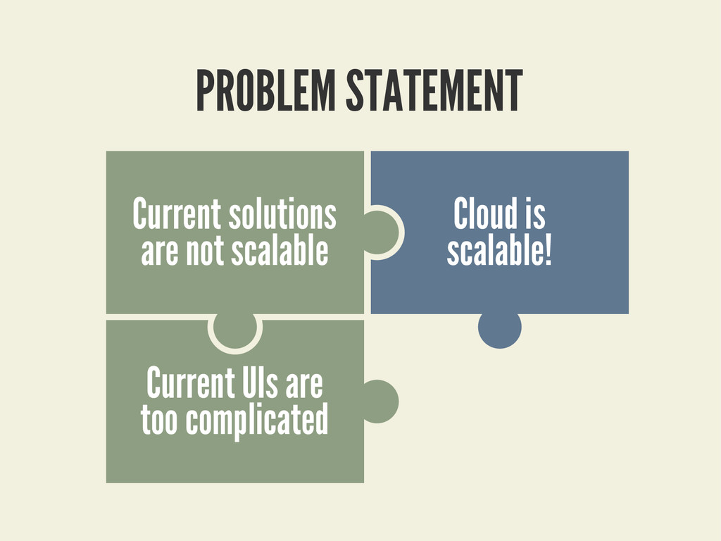 PROBLEM STATEMENT Cloud is scalable! Current UI...