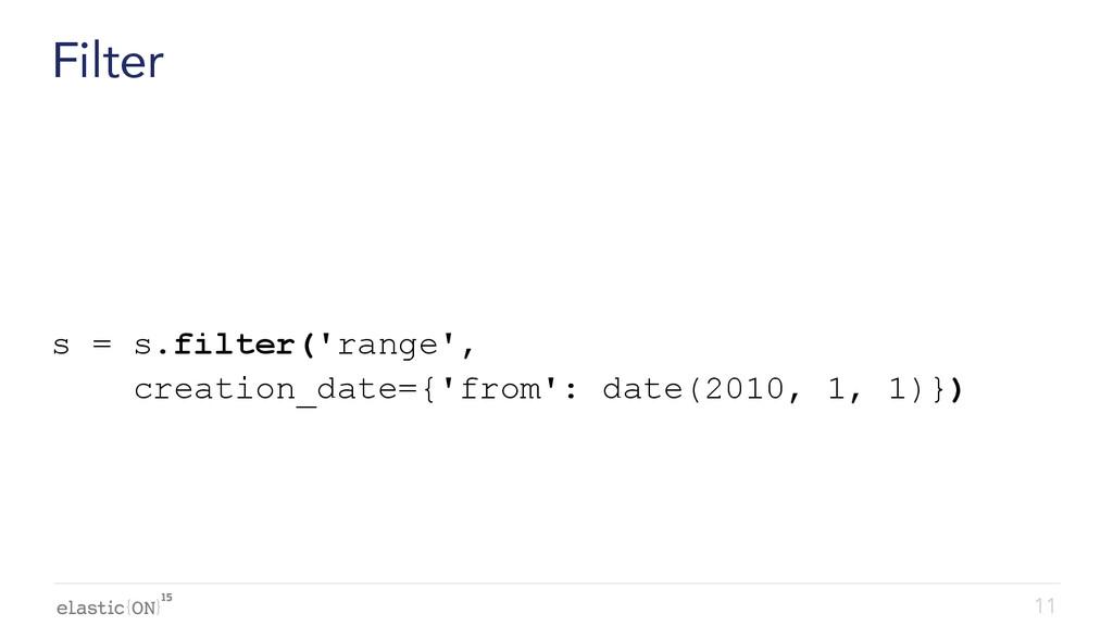 { } Filter s = s.filter('range', creation_date=...
