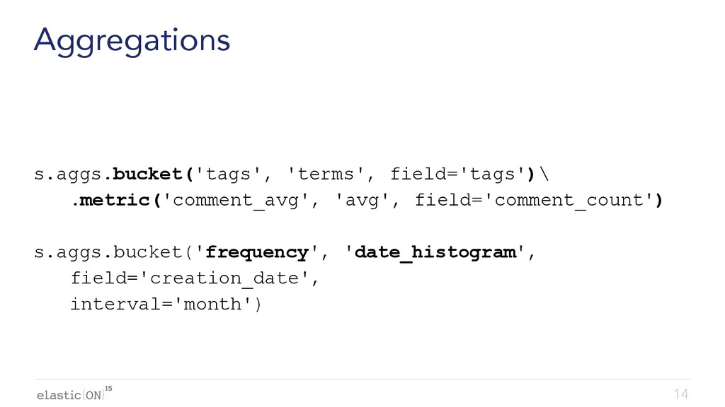 { } Aggregations s.aggs.bucket('tags', 'terms',...