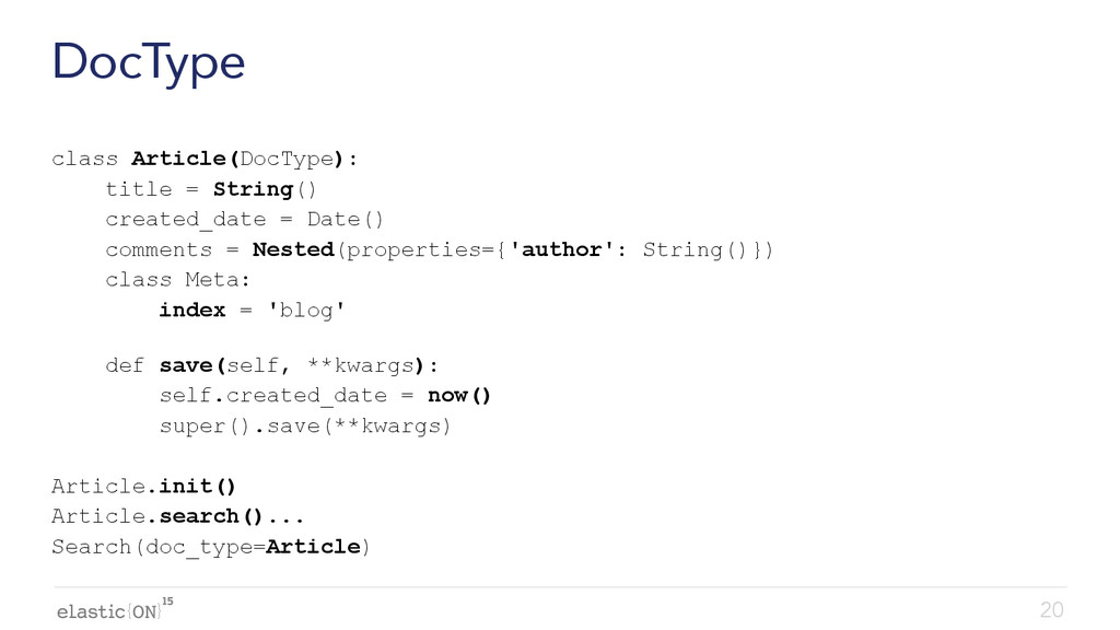 { } DocType class Article(DocType): title = Str...