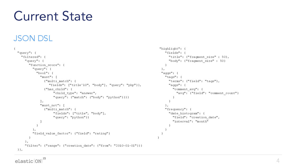 """{ } Current State { """"query"""": { """"filtered"""": { """"q..."""