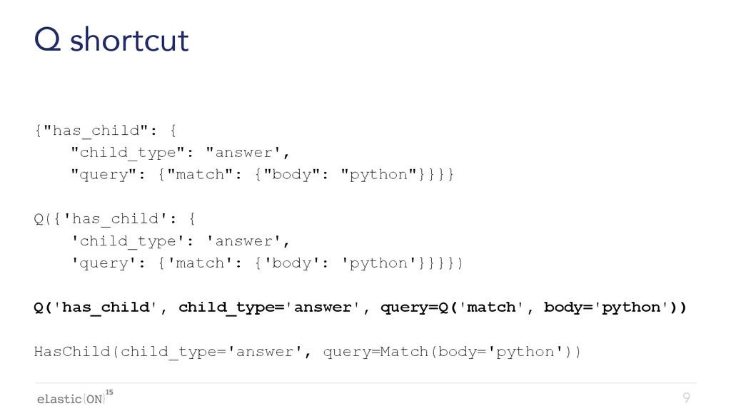 """{ } Q shortcut {""""has_child"""": { """"child_type"""": """"a..."""